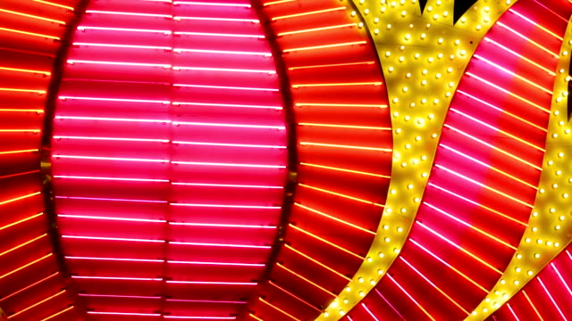las vegas neon lights blurred close-up - luce stradale video stock e b–roll