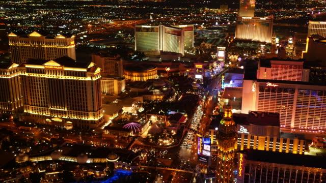 Las Vegas, Nevada Aerial view of Las Vegas Strip at night video
