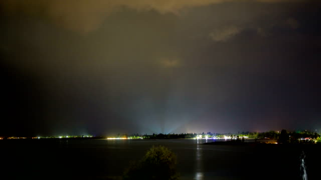 Laser beam on the horizon during a thunderstorm on the seashore