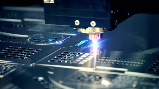 CNC Laser cutting of metal, modern industrial technology. video