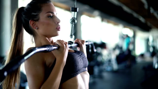 Lat pull down exercise at gym video