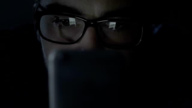 Late night phone scrutiny. video