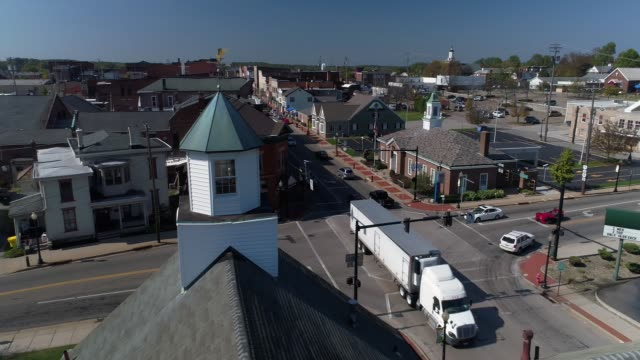 Laterally-Moving Dolly Aerial Establishing Shot of Small Town Salem Ohio USA A laterally-moving daytime dolly aerial establishing shot of the small town of Salem, Ohio's business district. dolly shot stock videos & royalty-free footage