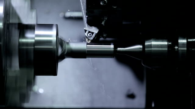cnc lathe machine produces metal - станок стоковые видео и кадры b-roll