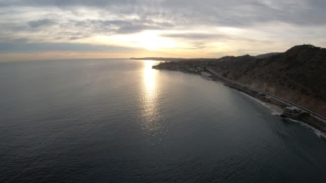 Latigo Canyon Beach Malibu Cove Aerial View - California Coast Sunset video