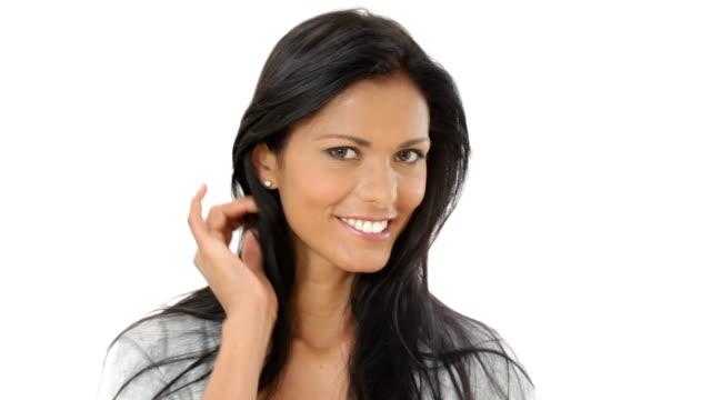 Latin woman smiling video