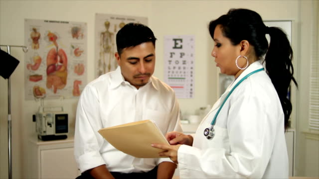 Latino Woman Doctor Talking to Patient A lovely Hispanic physician discusses test results with her male patient. ethnicity stock videos & royalty-free footage