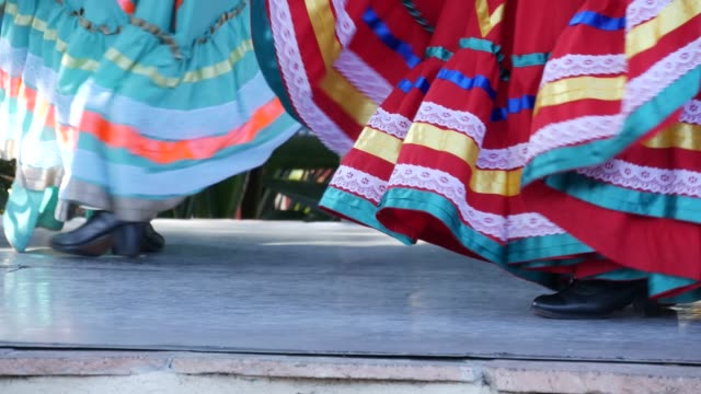 Latino women in colourful traditional dresses dancing Jarabe tapatio, mexican national folk hat dance. Street performance of female hispanic ballet in multi colored ethnic skirts. Girls in costumes