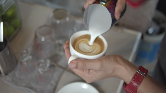 Latte art Making,Slow motion