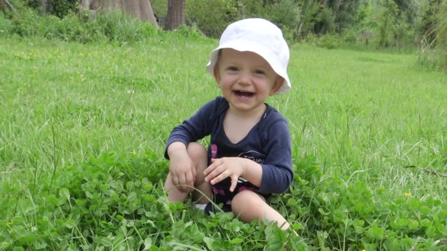 Laughing baby girl crawling in grass on sunny summer day Laughing baby girl crawling in grass on sunny summer day crawling stock videos & royalty-free footage