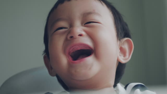 Laughing Baby MS Shot of asian baby (6-11 months) boy laughing at home. Bangkok, Thailand. healthy lifestyle stock videos & royalty-free footage