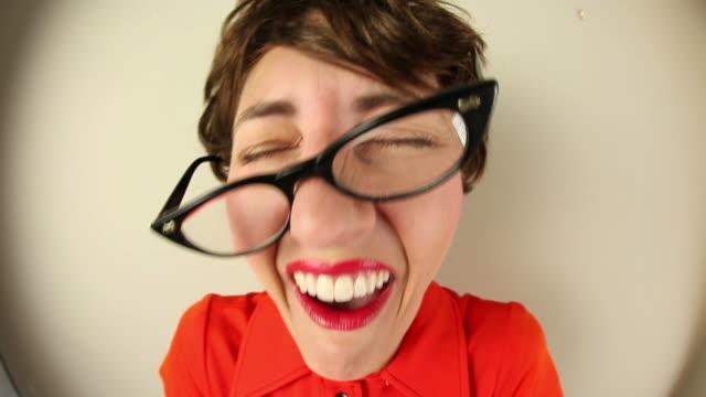 Laughing Fisheye Nerd Woman video