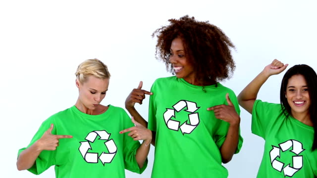 Laughing women with green ecologic tshirt video