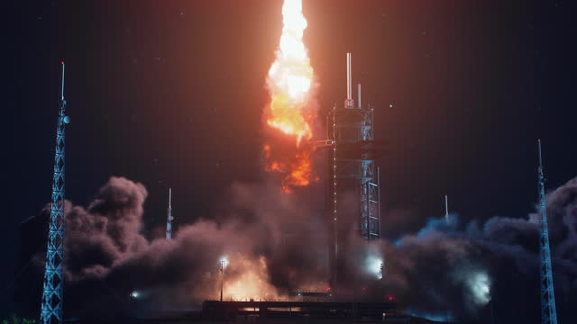 Launch Pad Complex at Night: Successful Rocket Launching with Crew on a Space Exploration Mission. Flying Spaceship Blasts Flames and Smoke on a Take-off. Humanity in Space, Conquering Universe