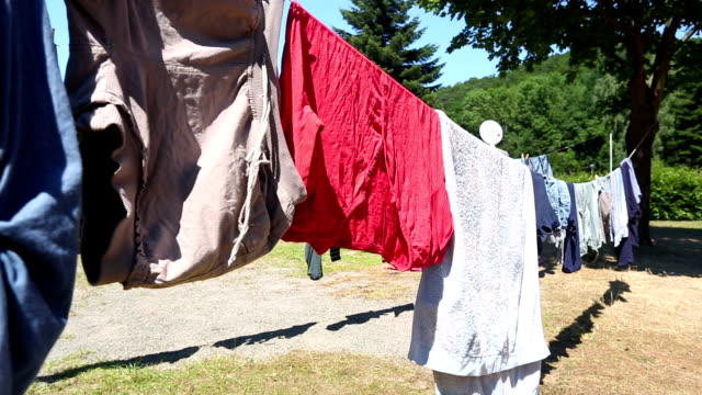 Laundry on clothesline video
