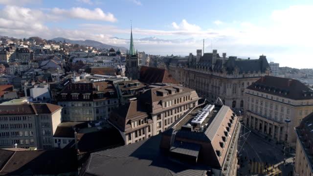 lausanne st-francois approach - aerial 4k - szwajcaria filmów i materiałów b-roll