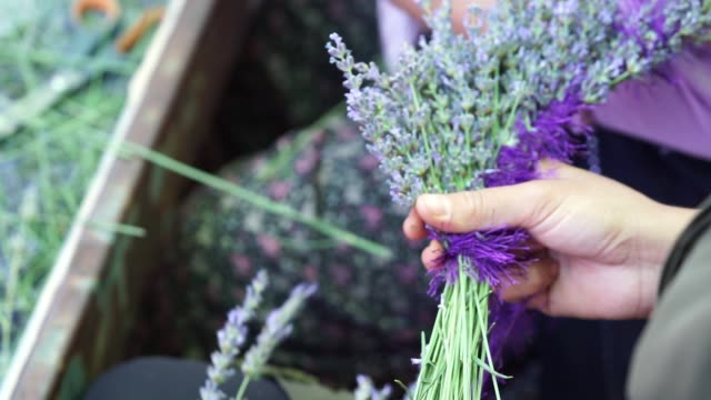 lavender crown making woman, doing crown with lavender flowers. lavender flowers are made by knitting with rope.