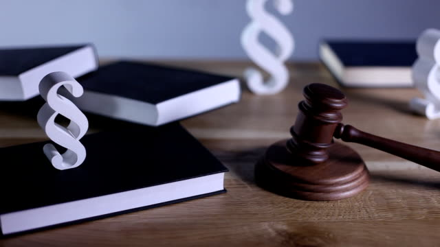 Law and justice concept mallet, justice scale, books, money, dolly shot sentencing stock videos & royalty-free footage