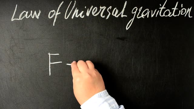Law of universal gravitation, formula.	We write with chalk on a board. video
