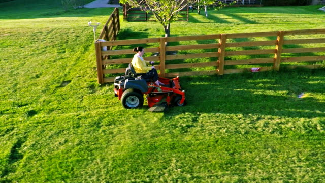 Lawn mowing video