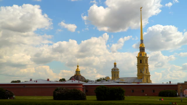 Lawn under the walls of the Peter and Paul Fortress video