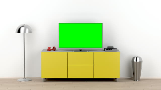 Lcd tv with green screen Lcd tv with green screen in the living room cable tv stock videos & royalty-free footage