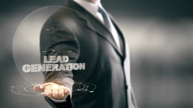 Lead Generation with bulb hologram businessman concept video