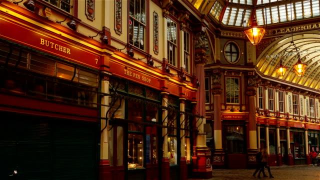 leadenhall market hyperlapse - victorian architecture stock videos & royalty-free footage