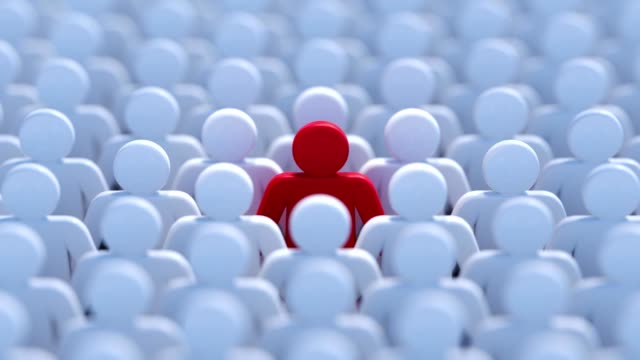 Leadership, difference and standing out of crowd concept