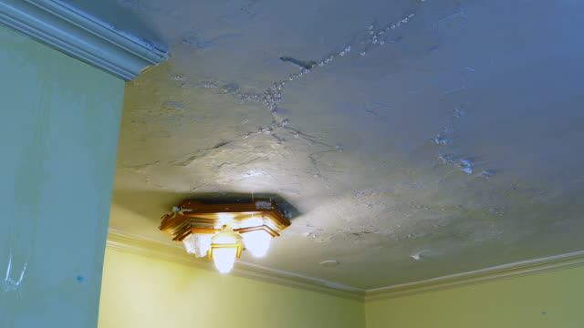 leaking ceiling with water damage - soffitto video stock e b–roll