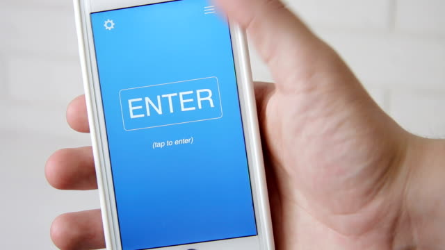 Learn English concept application on the smartphone. Man uses mobile app. video