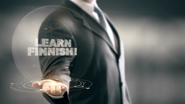 Learn Finnish Hologram Concept Businessman Holding in Hand video