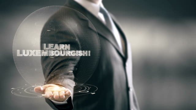 Learn Luxembourgish Hologram Concept Businessman Holding in Hand video