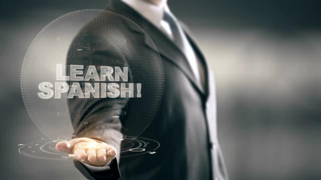 Apprenez espagnol Hologram Concept Businessman Holding in Hand - Vidéo
