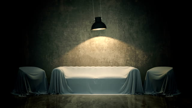 leather sofa in dark room. 3D rendering video