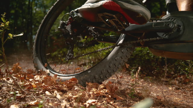 close up leaves and tiny branches fly in air as mountain biker rides his bicycle - andare in mountain bike video stock e b–roll