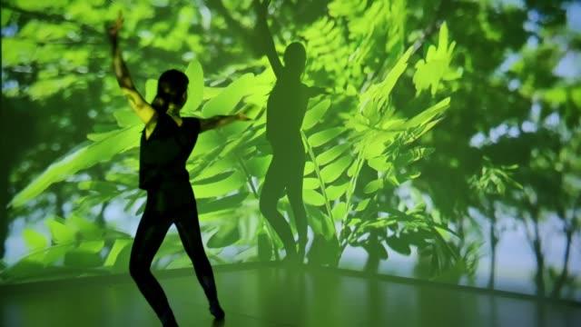 blad projektion på en kvinnlig dansare - abstract silhouette art bildbanksvideor och videomaterial från bakom kulisserna