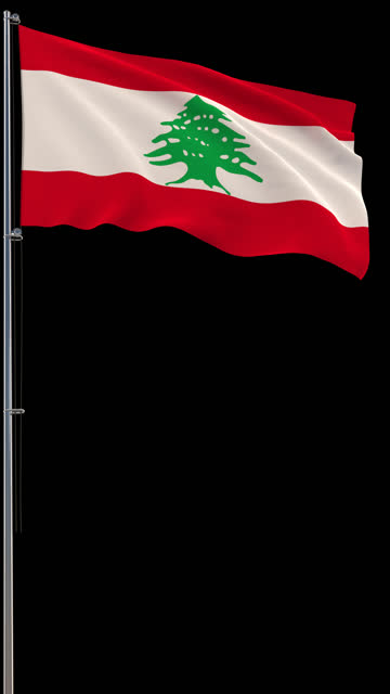 Lebanese flag, waving on transparent background, prores footage with alpha channel, vertical video