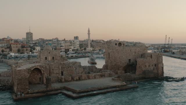 黎巴嫩 - 鳥瞰圖 - saida - 黎巴嫩南部 - lebanon 個影片檔及 b 捲影像