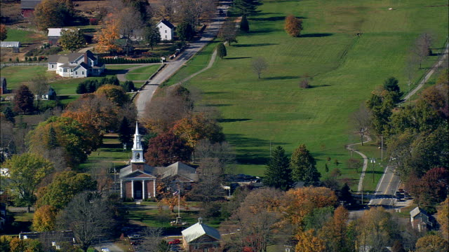 Lebanon And Village Green  - Aerial View - Connecticut,  New London County,  United States This clip was filmed by Skyworks on HDCAM SR 4:4:4 using the Cineflex gimbal. Connecticut,  New London County,   United States connecticut stock videos & royalty-free footage
