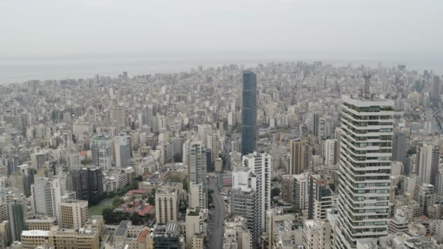 Lebanon - Beirut - Aerial shots of Beirut skyline Lebanon - Beirut - Aerial shots of Beirut skyline beirut stock videos & royalty-free footage