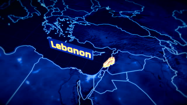 Lebanon country border 3D visualization, modern map outline, travel Lebanon country border 3D visualization, modern map outline, travel beirut stock videos & royalty-free footage