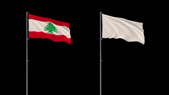 Lebanon flag and white flag waving on transparent background, 4k footage with alpha channel