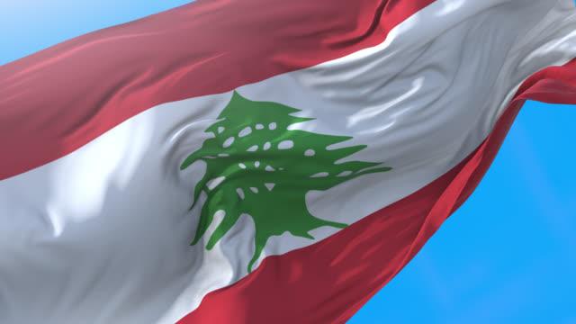 stockvideo's en b-roll-footage met libanon vlag zwaaiende 4k. realistische libanese achtergrond. libanon achtergrond 3840x2160 px. - beiroet