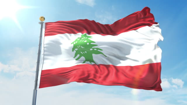 Lebanon flag waving in the wind against deep blue sky. National theme, international concept. 3D Render Seamless Loop 4K Lebanon flag waving in the wind against deep blue sky. National theme, international concept. 3D Render Seamless Loop 4K allegory painting stock videos & royalty-free footage