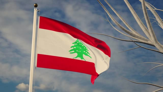 lebanon national flag waving with cloudy sky - animation footage - beirut video stock e b–roll