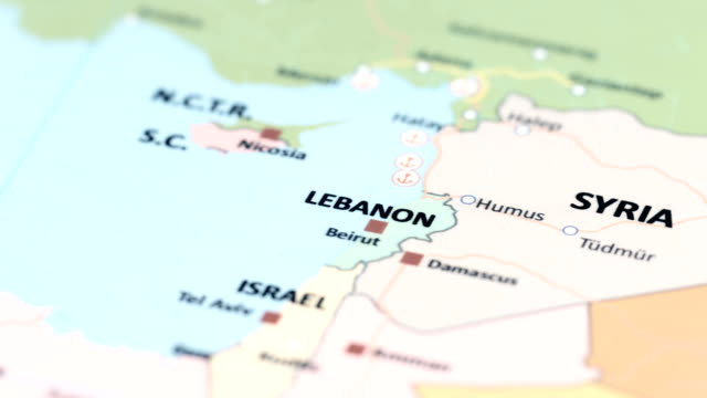 ASIA Lebanon on World Map tracking to ASIA Lebanon on World Map beirut stock videos & royalty-free footage