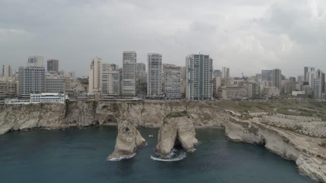 stockvideo's en b-roll-footage met libanon - raouche (pigeon rocks) - luchtfoto - beiroet
