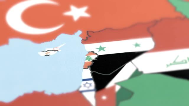 世界地圖上的黎巴嫩國旗 - lebanon 個影片檔及 b 捲影像