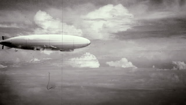 Legendary huge zeppelin airship on sky. Black and white retro stylization, old film.